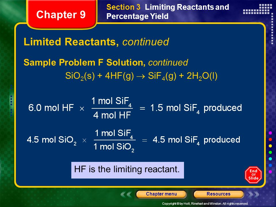 Limited Reactants, continued
