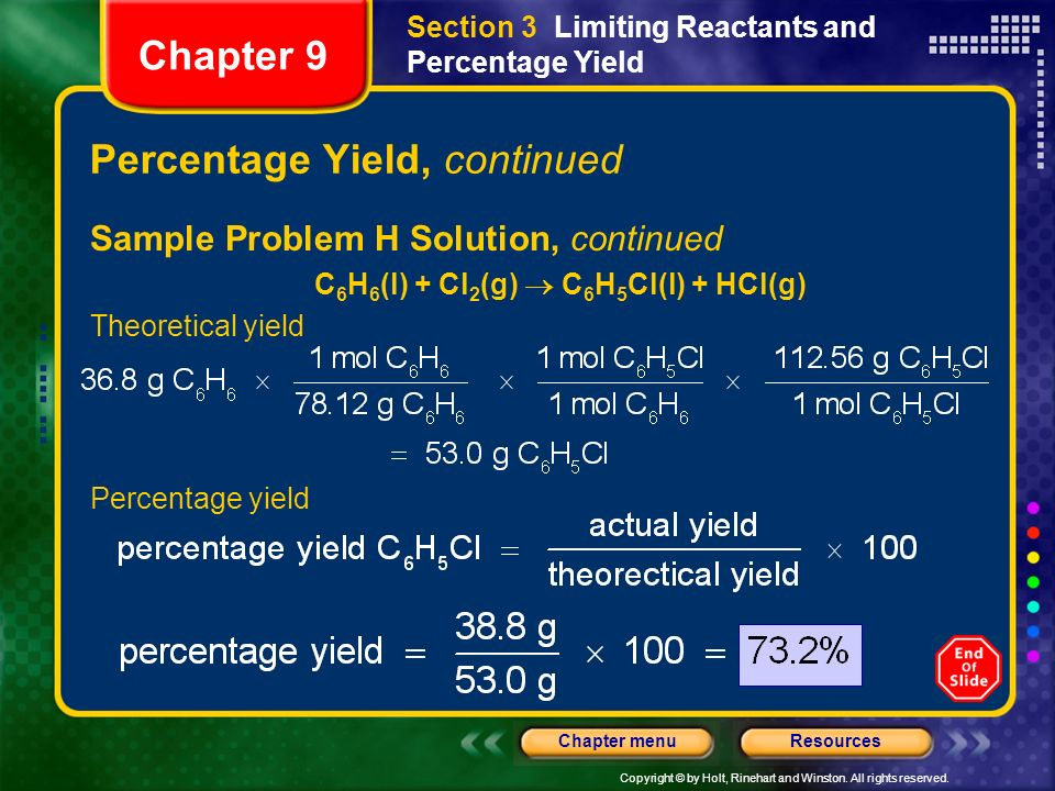 Percentage Yield, continued