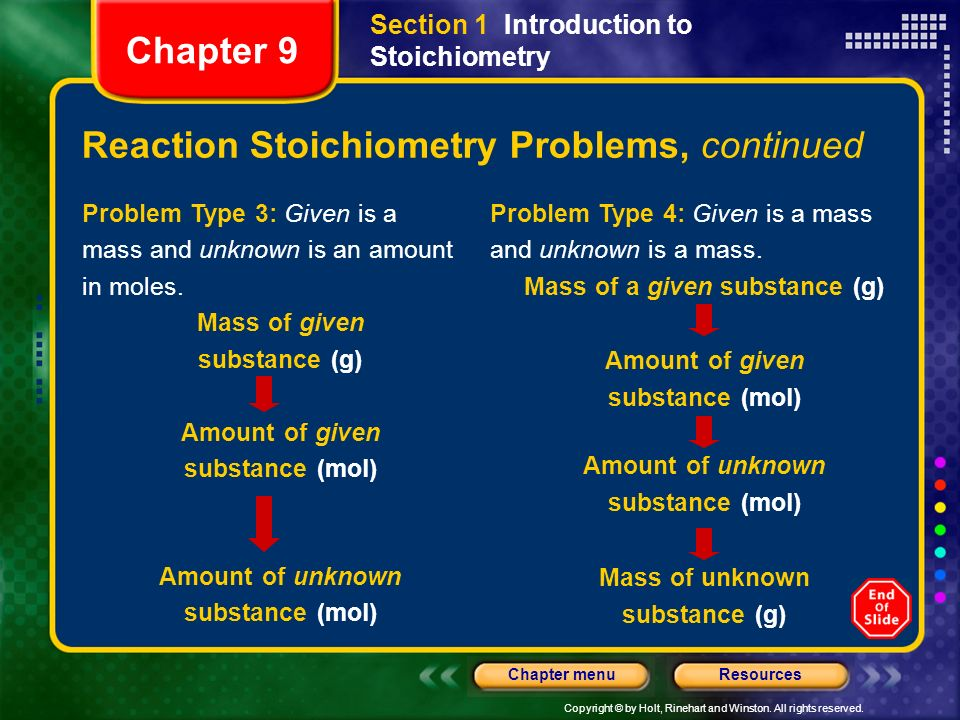 Reaction Stoichiometry Problems, continued