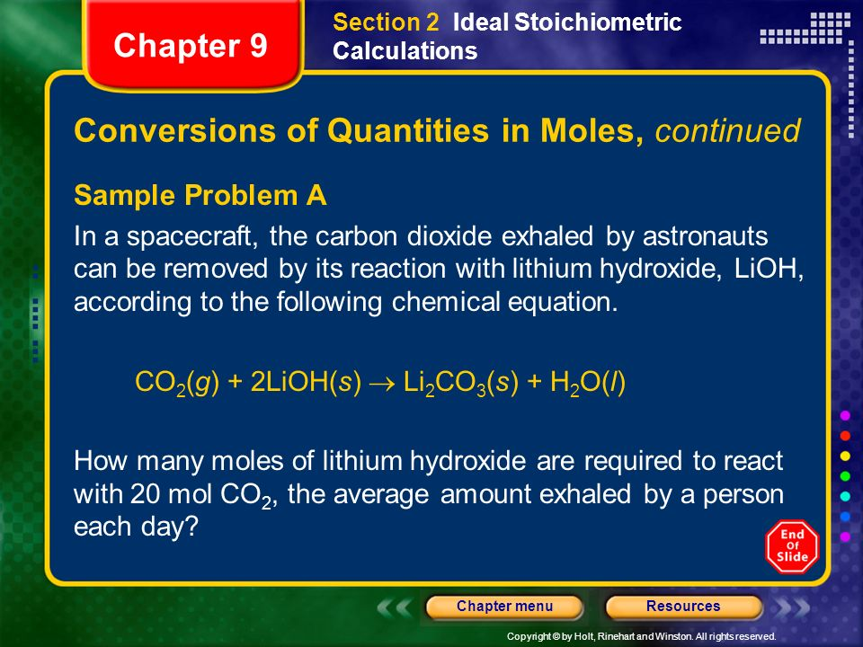 Conversions of Quantities in Moles, continued