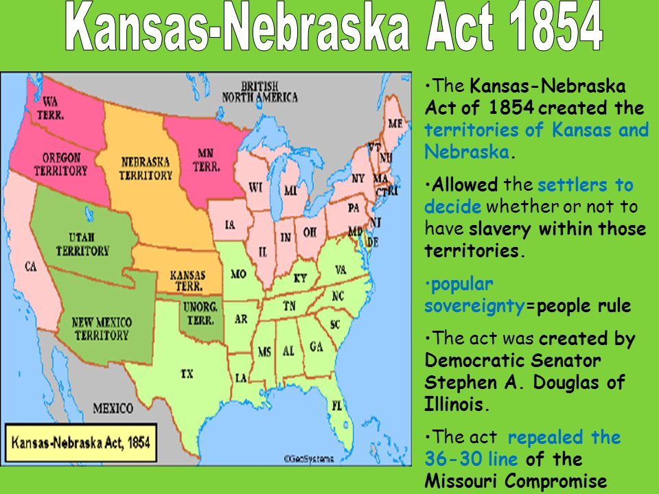 Kansas-Nebraska Act 1854 The Kansas-Nebraska Act of 1854 created the territories of Kansas and Nebraska.