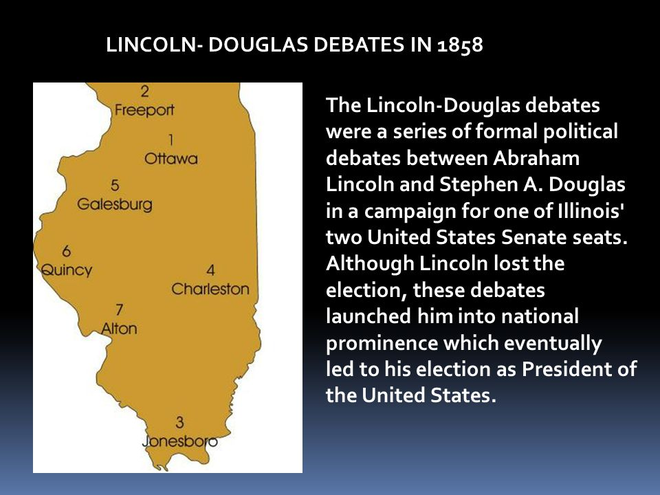 LINCOLN- DOUGLAS DEBATES IN 1858