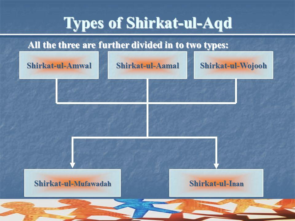 Types of Shirkat-ul-Aqd Shirkat-ul-Mufawadah