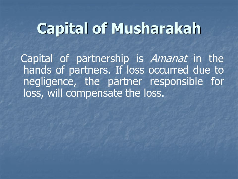 Capital of Musharakah