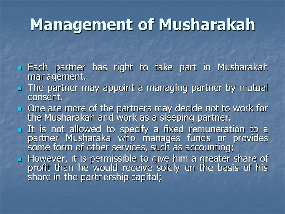 Management of Musharakah