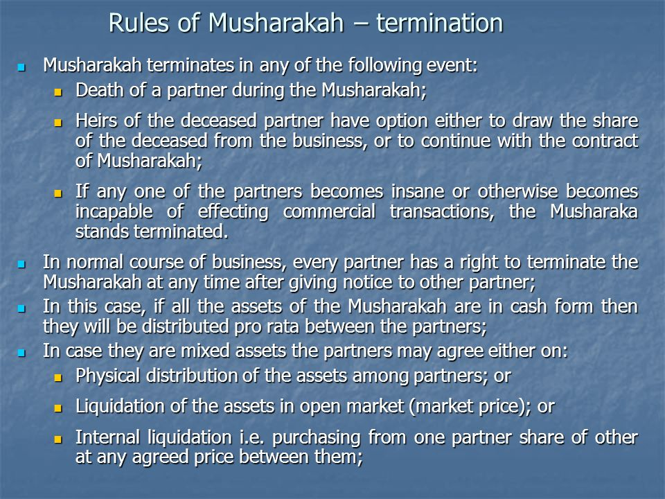 Rules of Musharakah – termination