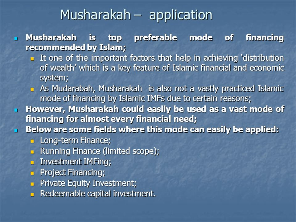 Musharakah – application