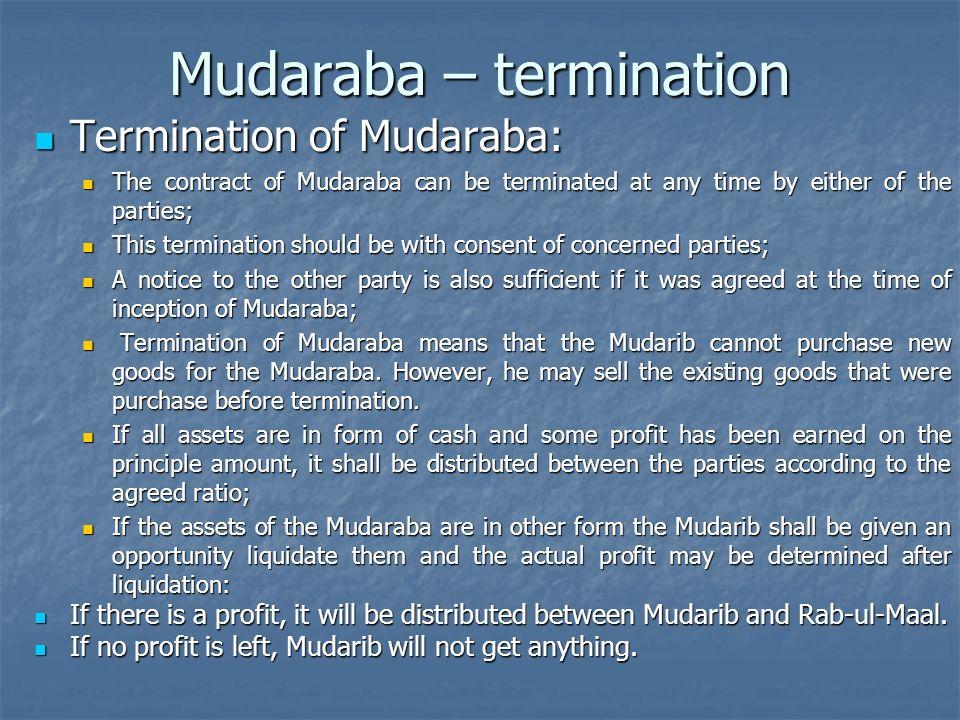 Mudaraba – termination