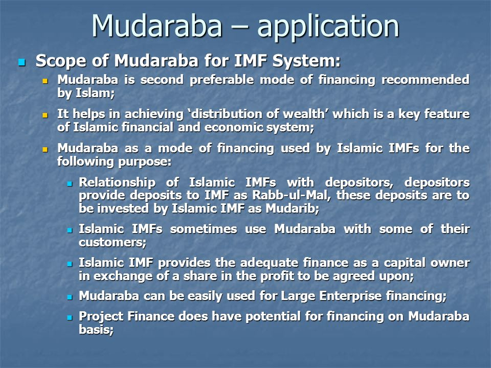 Mudaraba – application