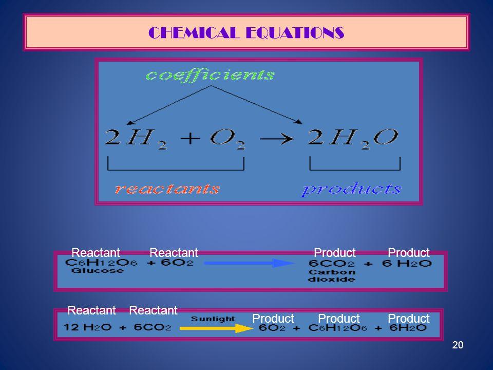 CHEMICAL EQUATIONS Reactant Reactant Product Product Reactant Reactant