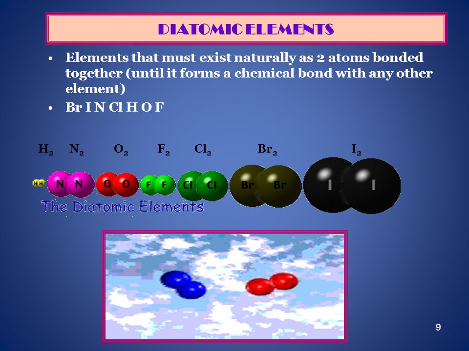 DIATOMIC ELEMENTSElements that must exist naturally as 2 atoms bonded together (until it forms a chemical bond with any other element)