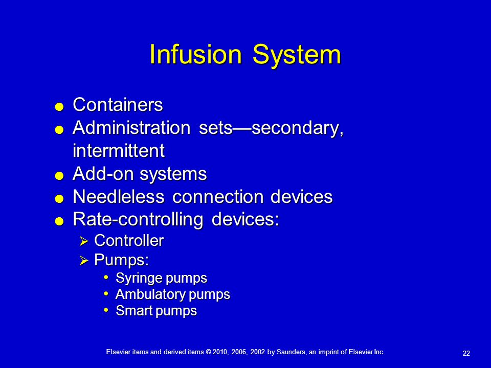 Infusion System Containers Administration sets—secondary, intermittent
