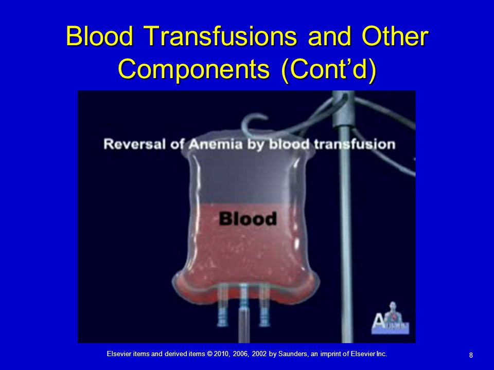 Blood Transfusions and Other Components (Cont'd)