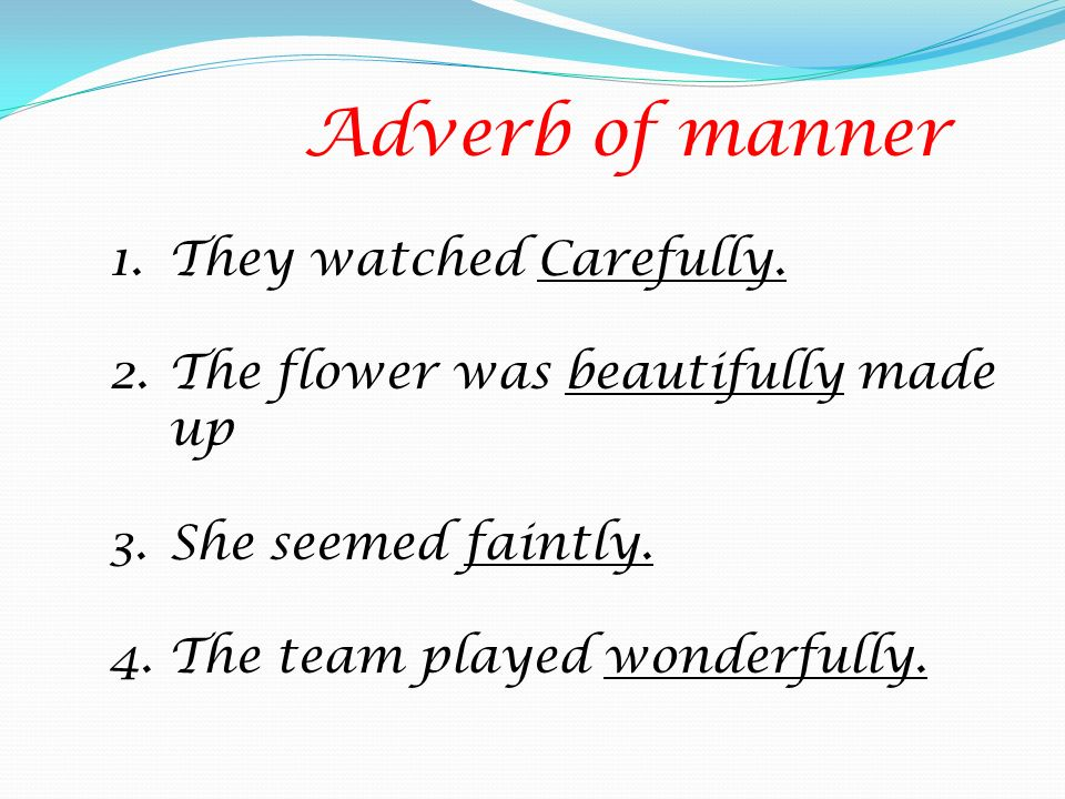 Adverb of manner They watched Carefully.
