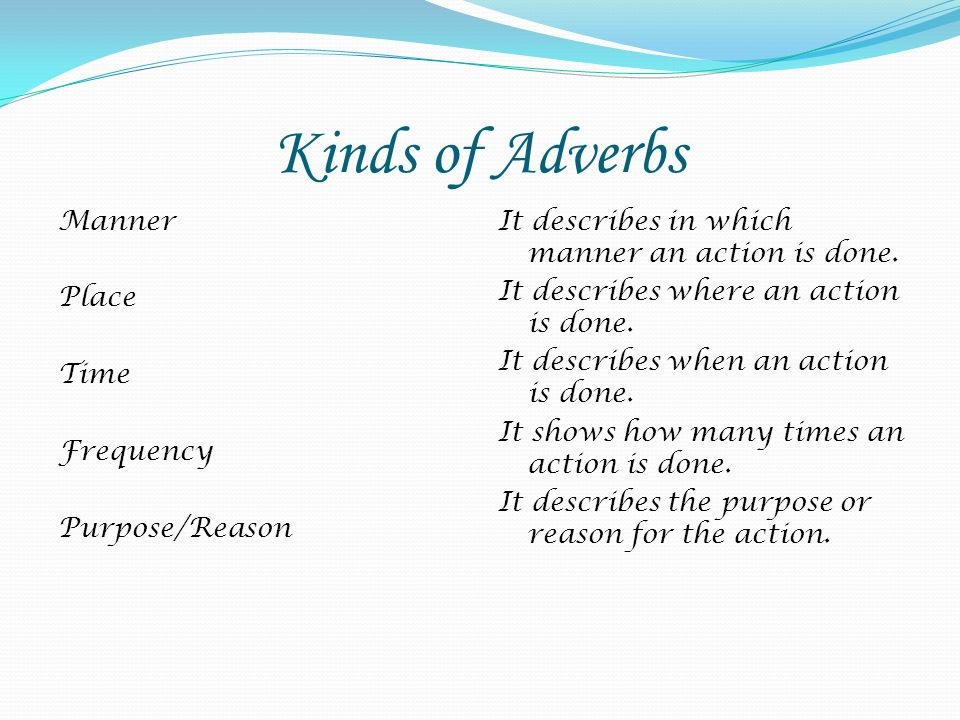 Kinds of Adverbs Manner Place Time Frequency Purpose/Reason