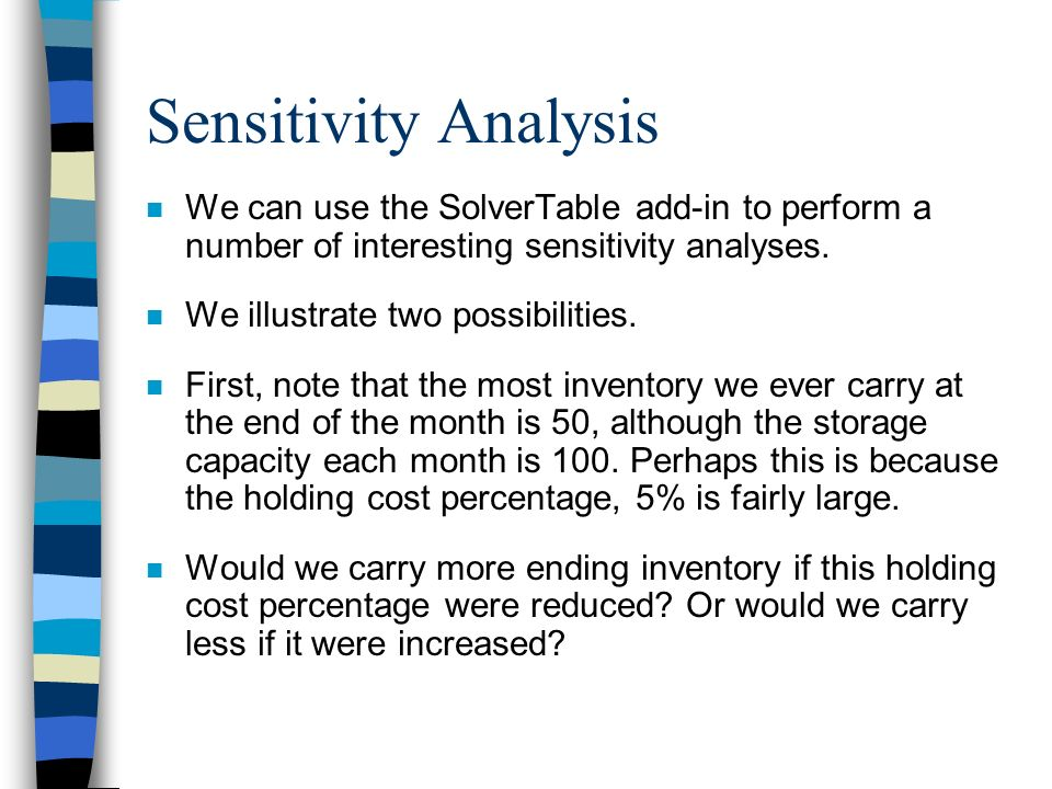 Sensitivity Analysis We can use the SolverTable add-in to perform a number of interesting sensitivity analyses.