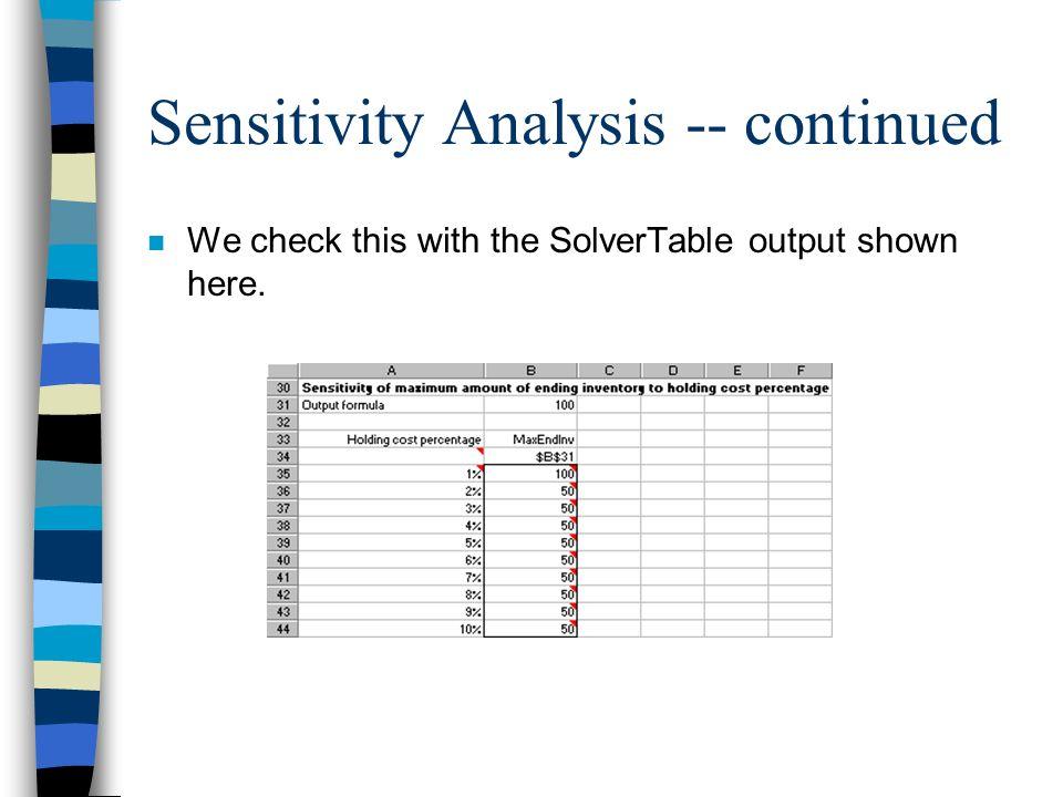 Sensitivity Analysis -- continued