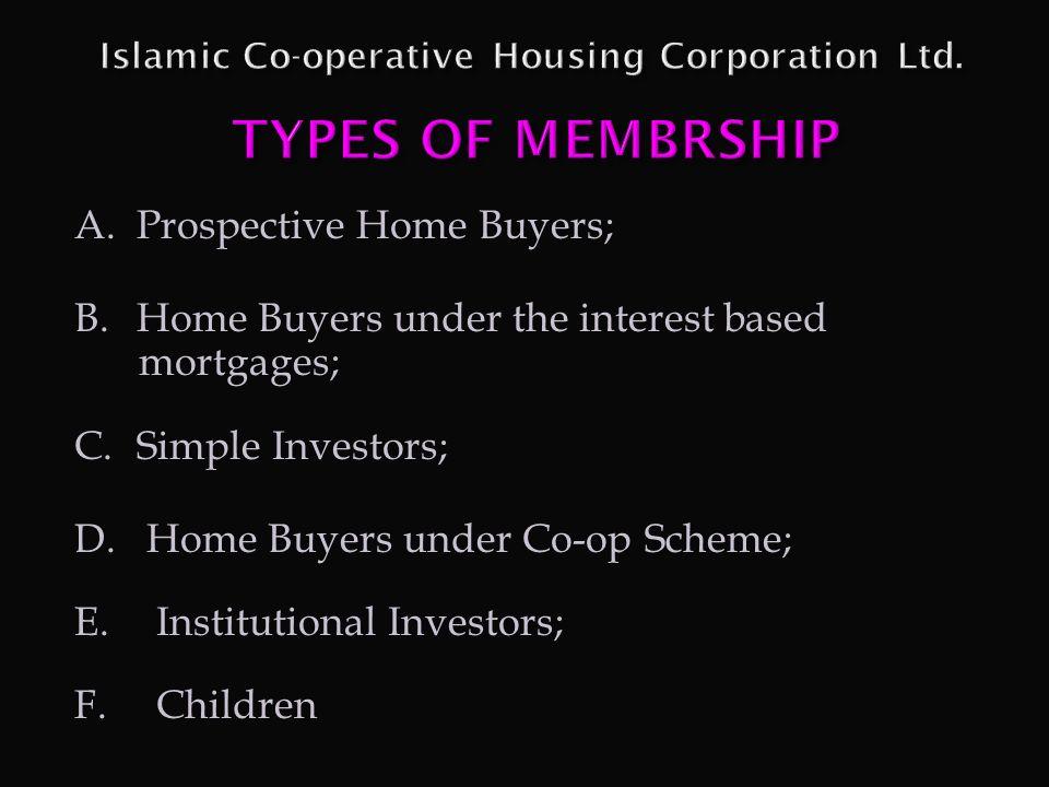 Islamic Co-operative Housing Corporation Ltd. TYPES OF MEMBRSHIP