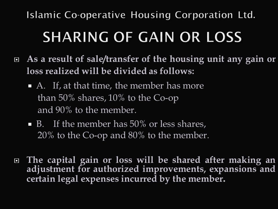 Islamic Co-operative Housing Corporation Ltd. SHARING OF GAIN OR LOSS