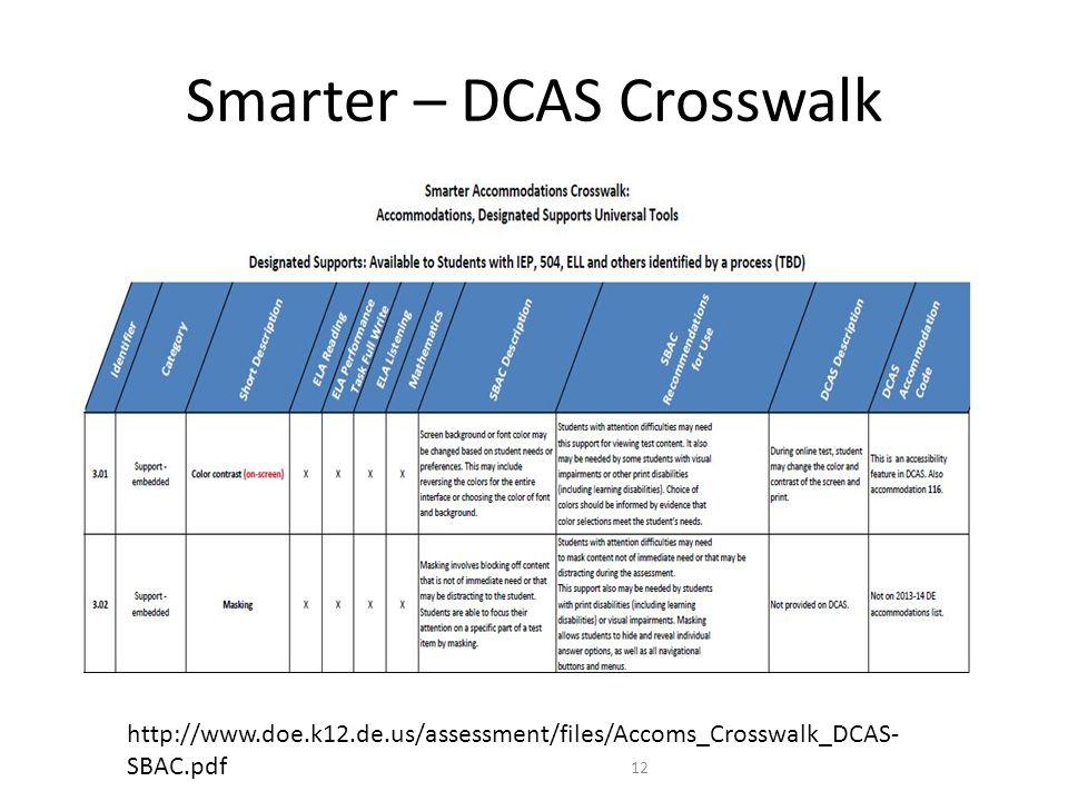 Smarter – DCAS Crosswalk