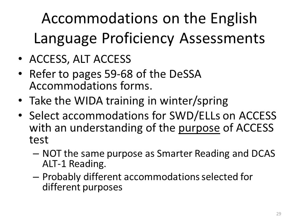 Accommodations on the English Language Proficiency Assessments