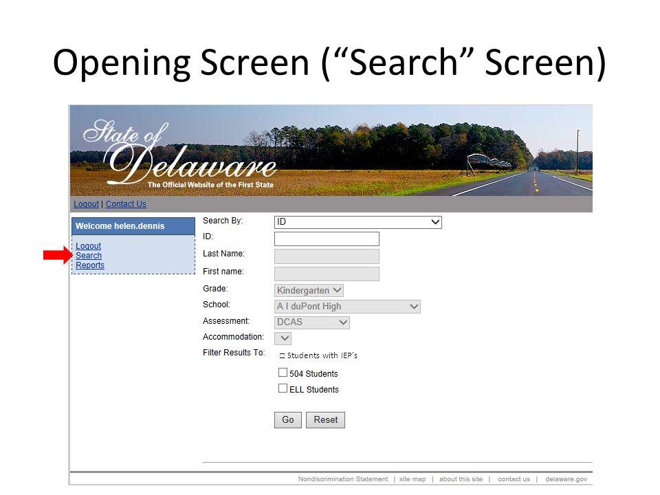 Opening Screen ( Search Screen)