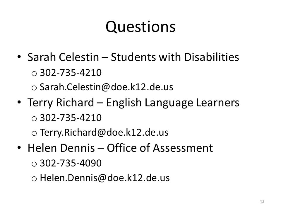Questions Sarah Celestin – Students with Disabilities