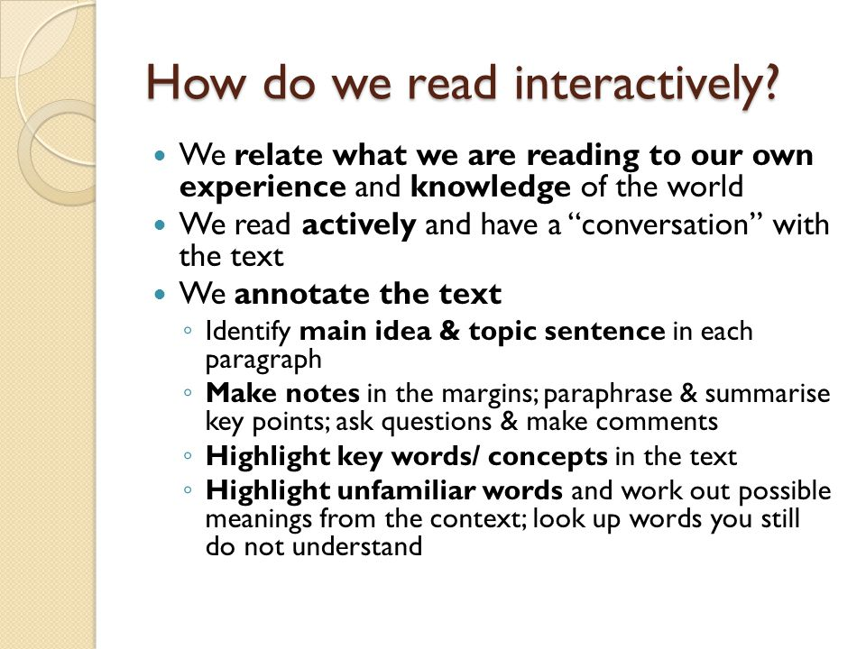 How do we read interactively