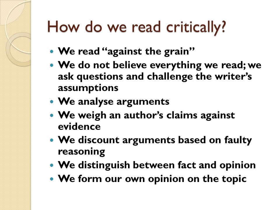 How do we read critically