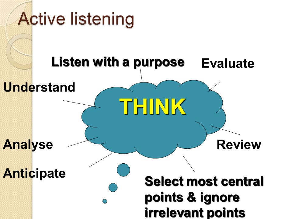 THINK Active listening Listen with a purpose Evaluate Understand