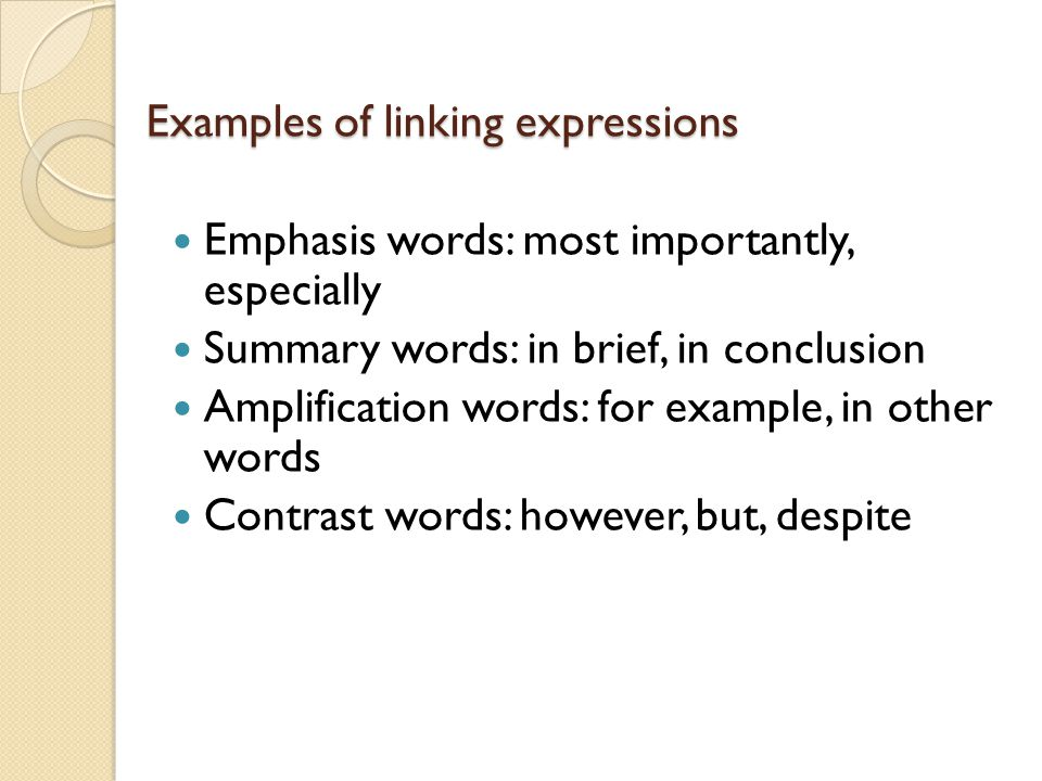 Examples of linking expressions