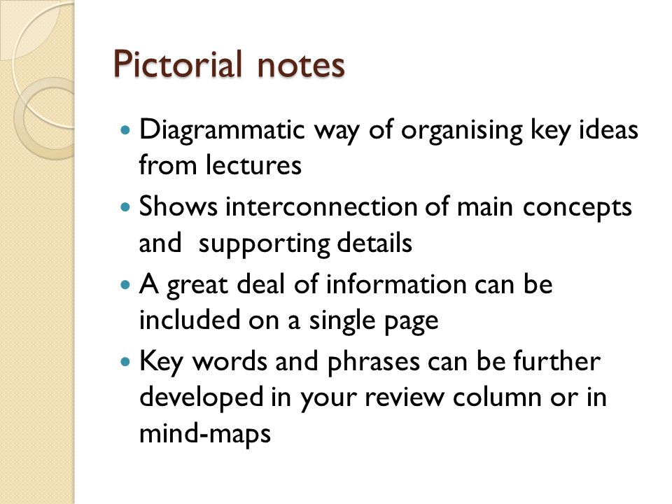 Pictorial notes Diagrammatic way of organising key ideas from lectures
