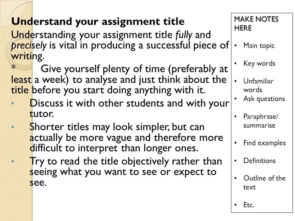 Understand your assignment title