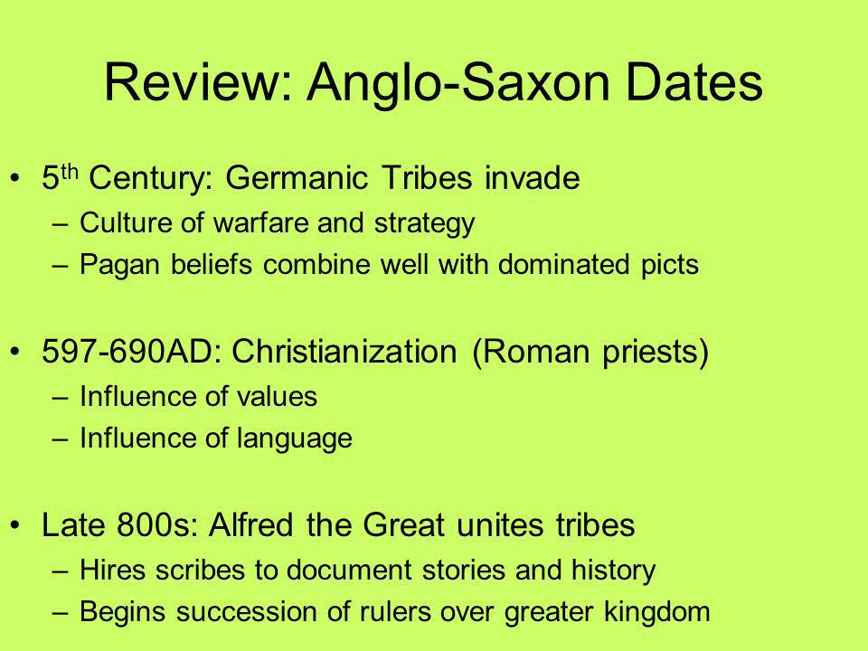 Review: Anglo-Saxon Dates