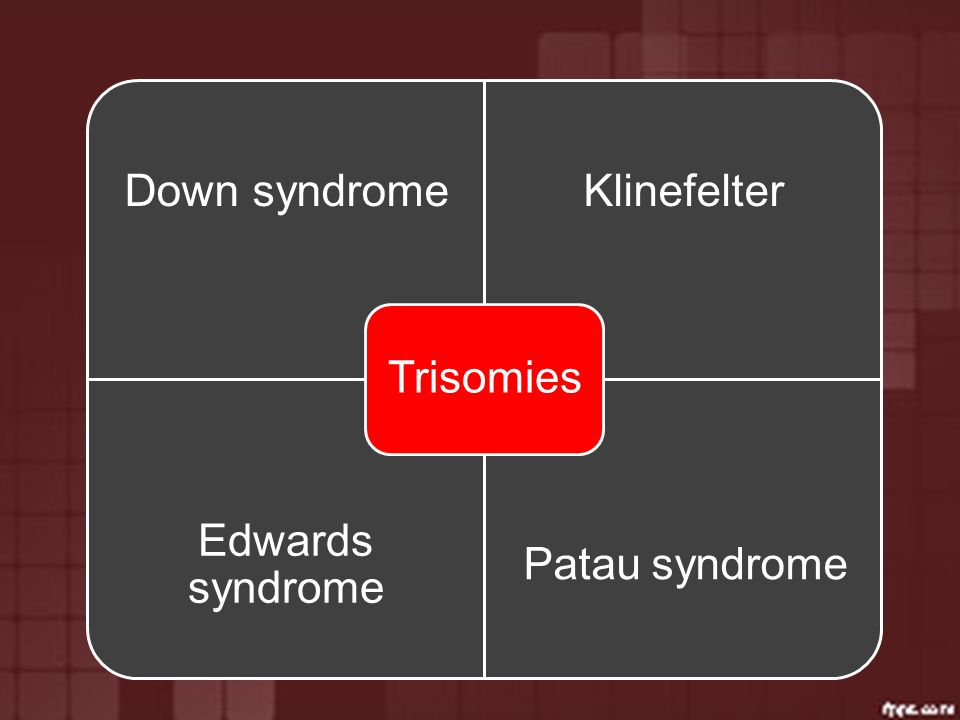 Trisomies Down syndrome Klinefelter Edwards syndrome Patau syndrome