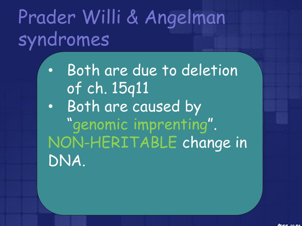 Prader Willi & Angelman syndromes