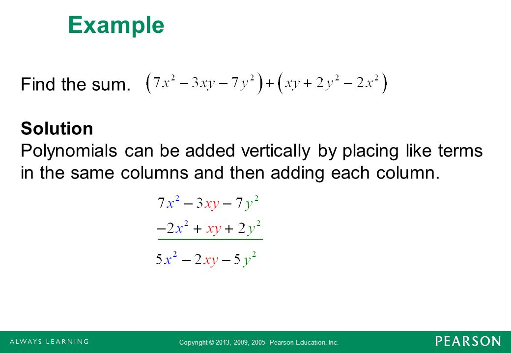 Example Find the sum.