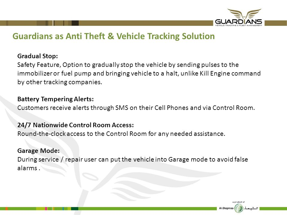 Guardians as Anti Theft & Vehicle Tracking Solution