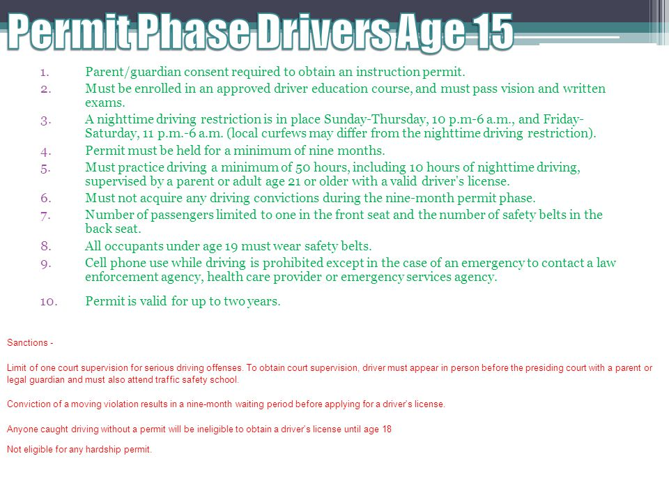 Permit Phase Drivers Age 15