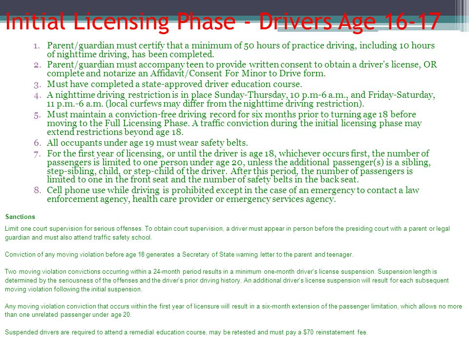 Initial Licensing Phase - Drivers Age 16-17