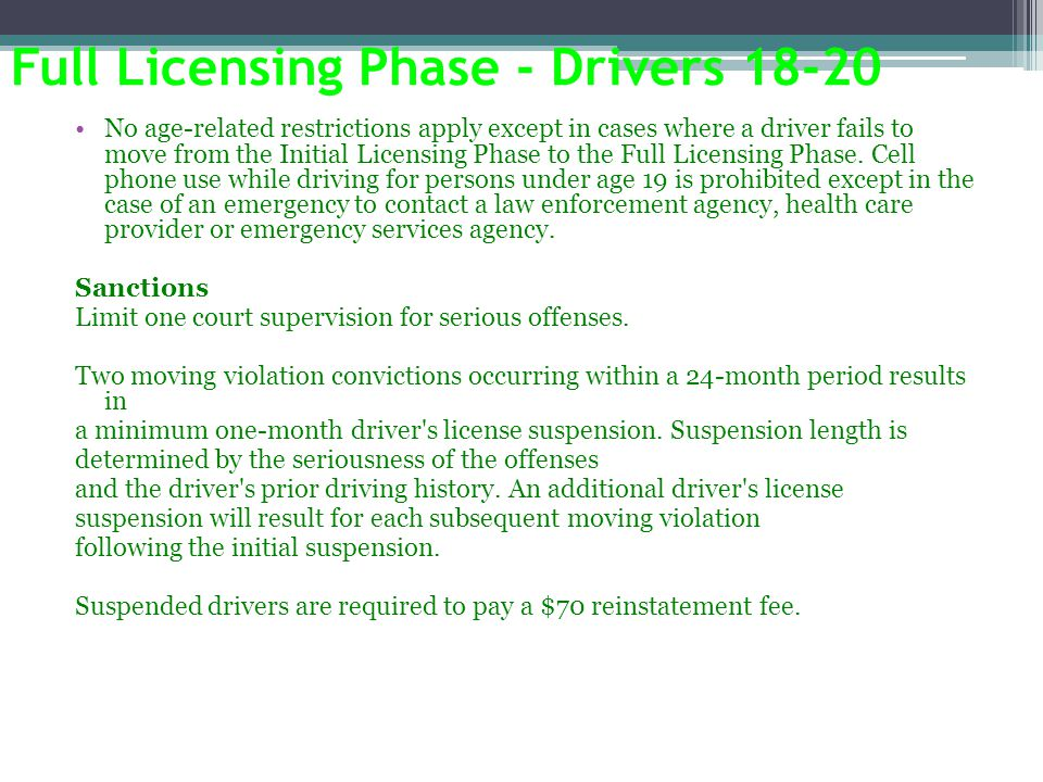 Full Licensing Phase - Drivers 18-20