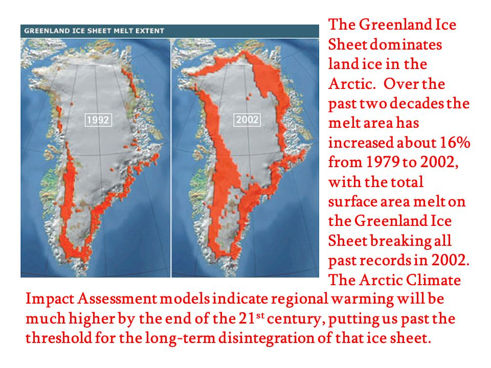 The Greenland Ice Sheet dominates land ice in the Arctic