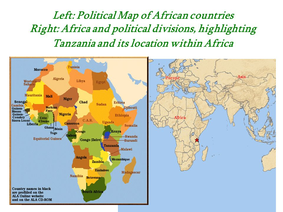 Left: Political Map of African countries Right: Africa and political divisions, highlighting Tanzania and its location within Africa