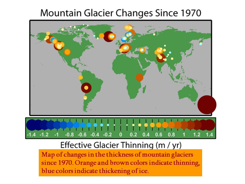 Map of changes in the thickness of mountain glaciers since 1970