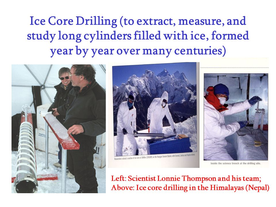 Ice Core Drilling (to extract, measure, and study long cylinders filled with ice, formed year by year over many centuries)