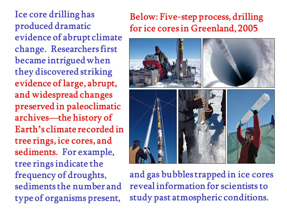 Ice core drilling has produced dramatic evidence of abrupt climate change. Researchers first became intrigued when they discovered striking evidence of large, abrupt, and widespread changes preserved in paleoclimatic archives—the history of Earth's climate recorded in tree rings, ice cores, and sediments. For example, tree rings indicate the frequency of droughts, sediments the number and type of organisms present,