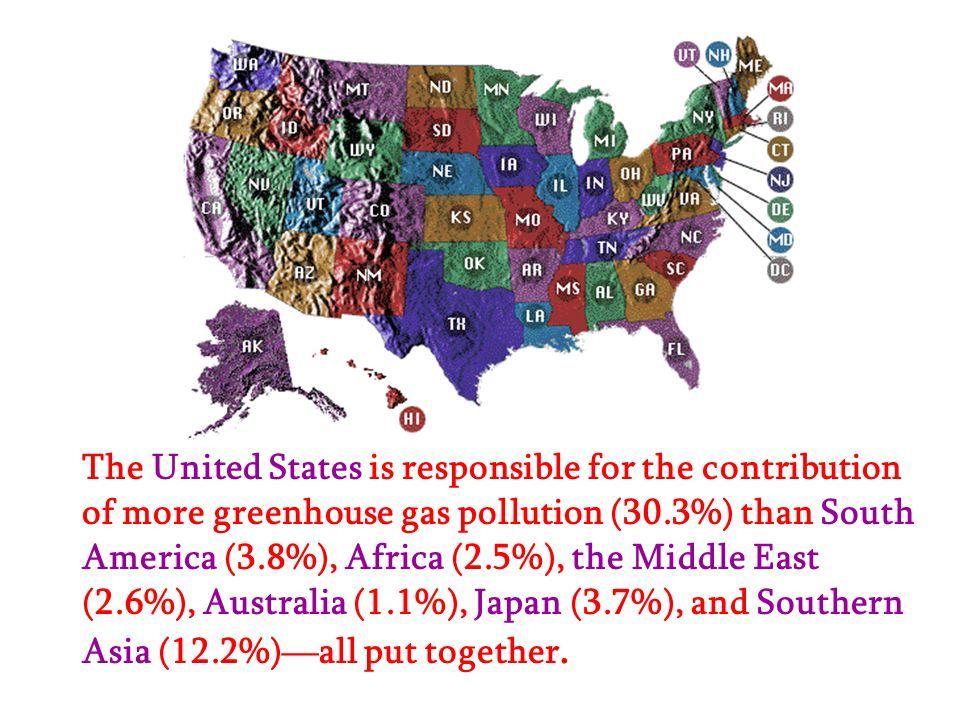 The United States is responsible for the contribution of more greenhouse gas pollution (30.3%) than South America (3.8%), Africa (2.5%), the Middle East (2.6%), Australia (1.1%), Japan (3.7%), and Southern Asia (12.2%)—all put together.