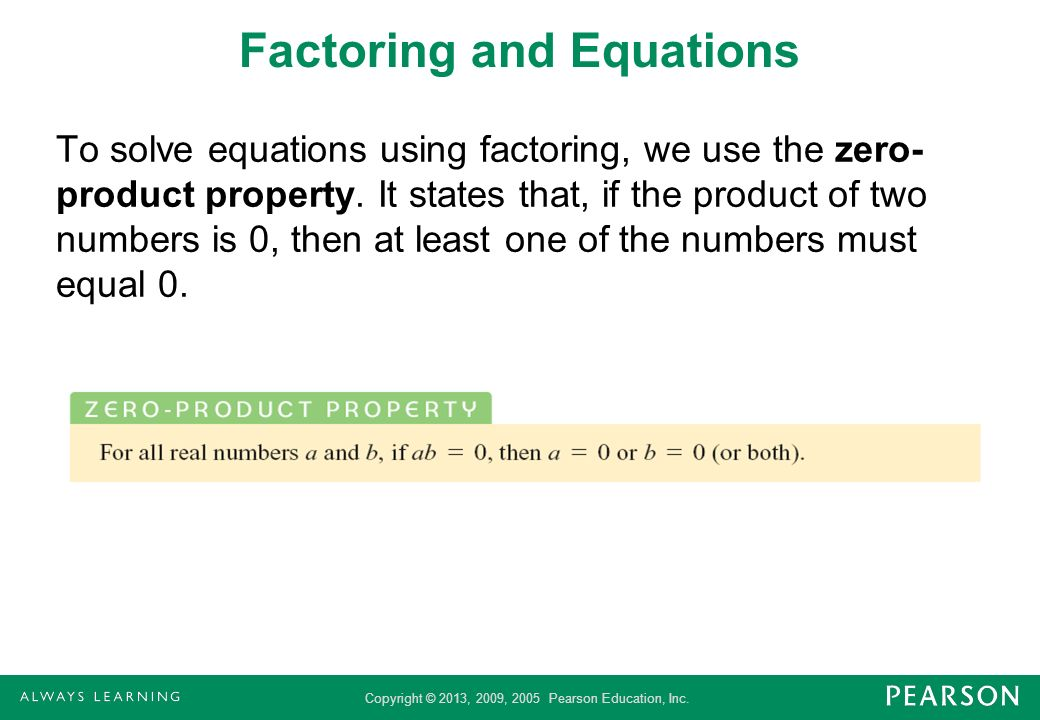 Factoring and Equations