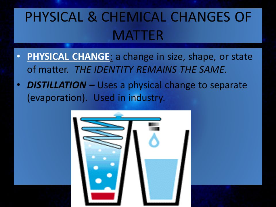 PHYSICAL & CHEMICAL CHANGES OF MATTER
