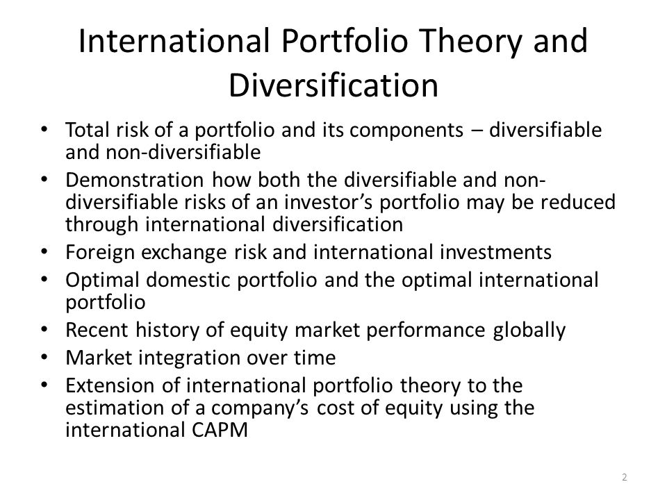 International Portfolio Theory and Diversification